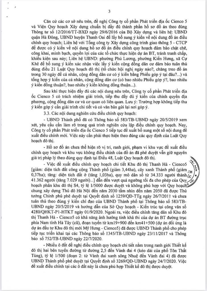 Trang 3 - Văn bản Trả lời Sở Quy Hoạch Kiến Trúc Hà Nội Đối Với Khu Đô Thị Thanh Hà