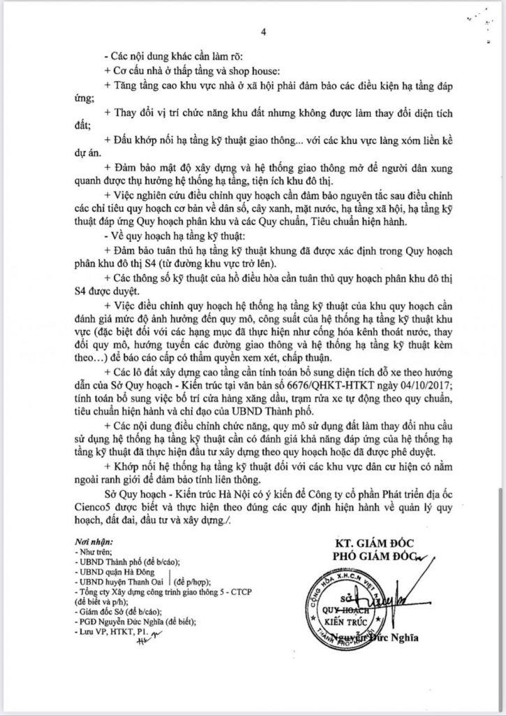 Trang 4 - Văn bản Trả lời Sở Quy Hoạch Kiến Trúc Hà Nội Đối Với Khu Đô Thị Thanh Hà