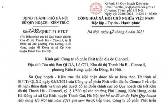 Sở Quy Hoạch Kiến Trúc Hà Nội Trả lời Điều Chỉnh Quy Hoạch Khu đô Thị Thanh Hà
