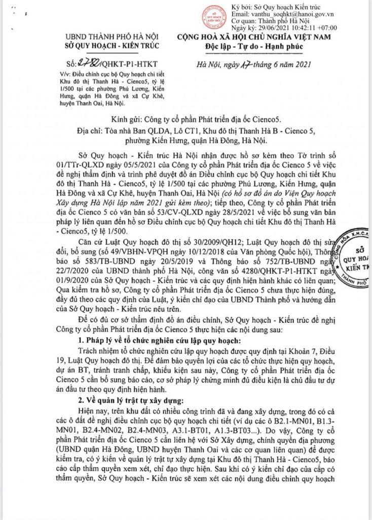 Trang 1 - Văn bản Trả lời Sở Quy Hoạch Kiến Trúc Hà Nội Đối Với Khu Đô Thị Thanh Hà