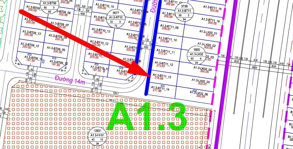 bán biệt thụ thanh hà đường 14m A1.3 - BT11 - Ô số 13