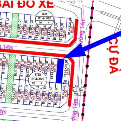 bán liền kề Thanh Hà đường 14m B1.4 - LK23 - Ô số 8